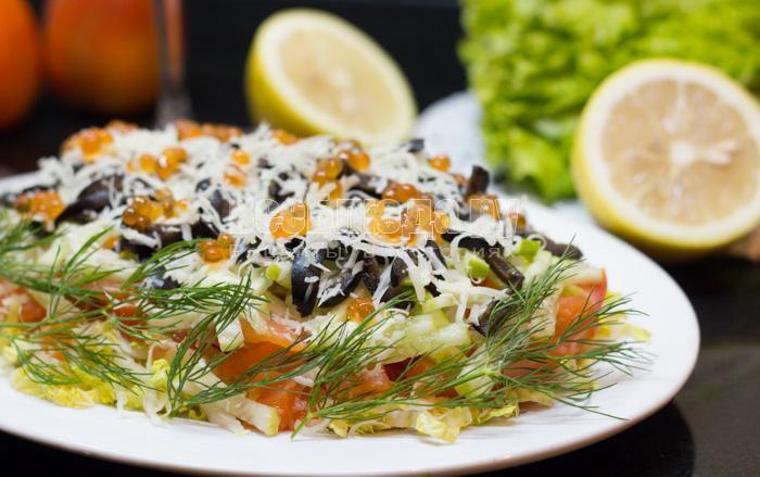 рецепт салата из семги и пекинской капусты