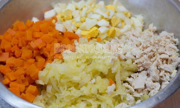 порезать ингредиенты к салату