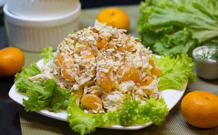 рецепт салата с куриным филе и мандаринами