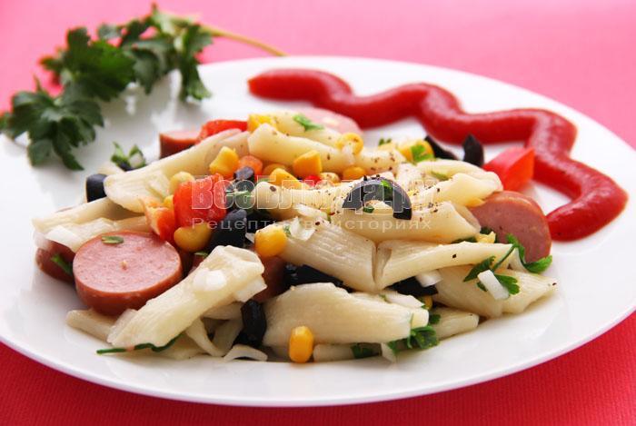 рецепт салата с макаронами