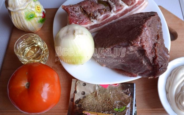 ингредиенты для мясных рулетиков с салом: