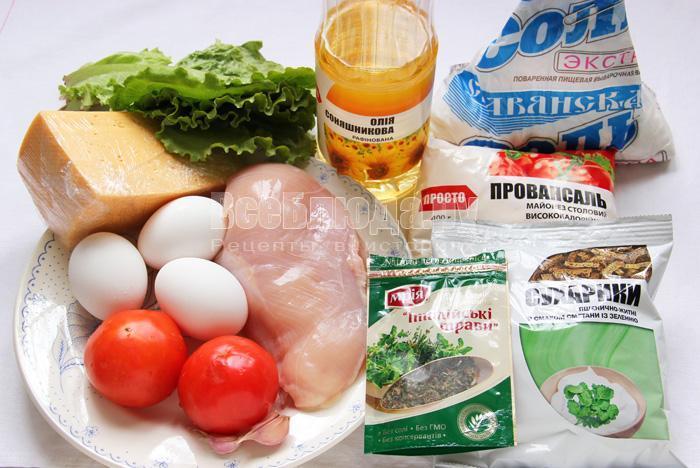 продукты для салата Цезарь