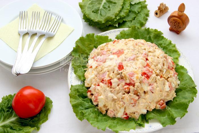 как приготовить салат цезарь с сухариками