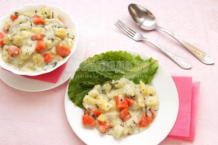 рецепт овощей в сметане