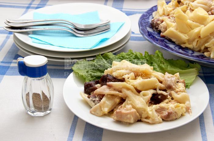 рецепт запеканки с индейкой, макаронами и грибами