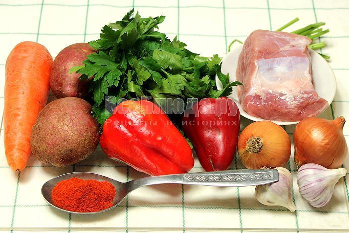 ингредиенты для венгерского гуляша