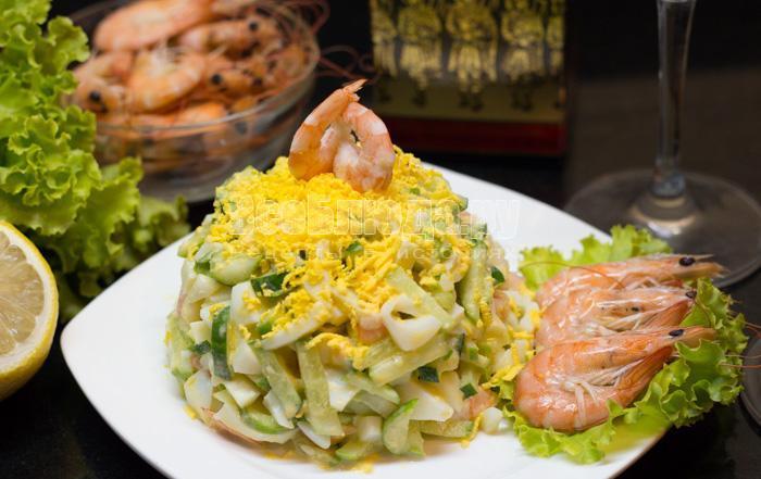 огурцы и креветки салат рецепт