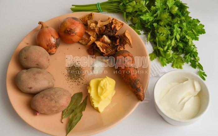ингредиенты для супа с сухими грибами
