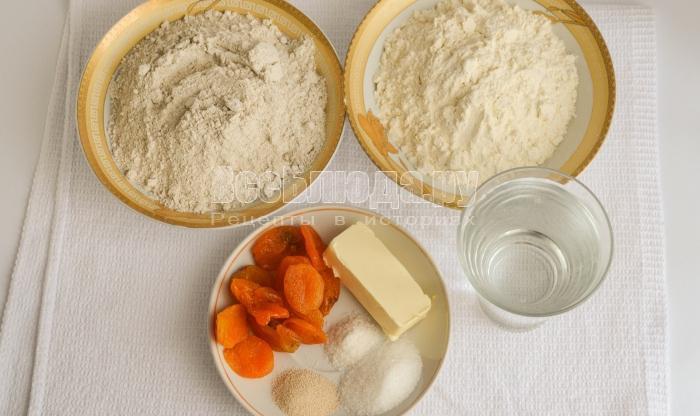 ингредиенты для хлеба с курагой