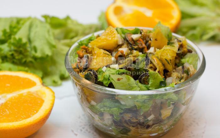 рецепт салата с мидиями и апельсинами