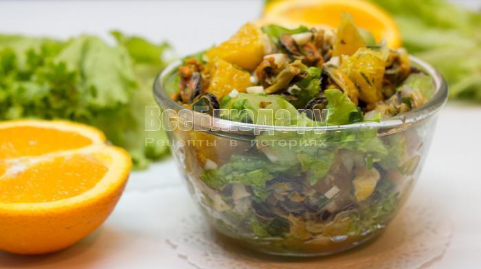 как приготовить салат с мидиями