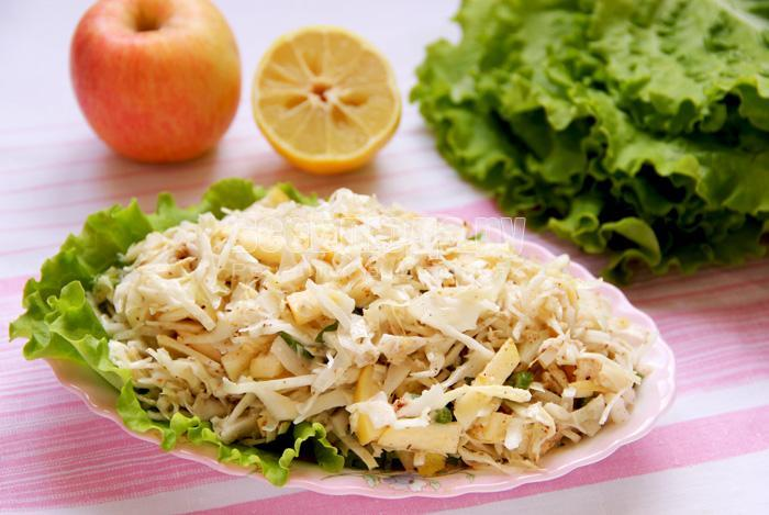 рецеп салата с капустой и яблоком