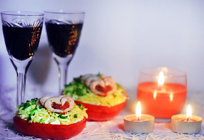 Салат Валентинка с креветками