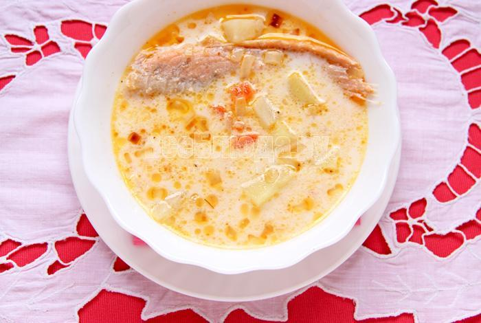 порция супа с семгой