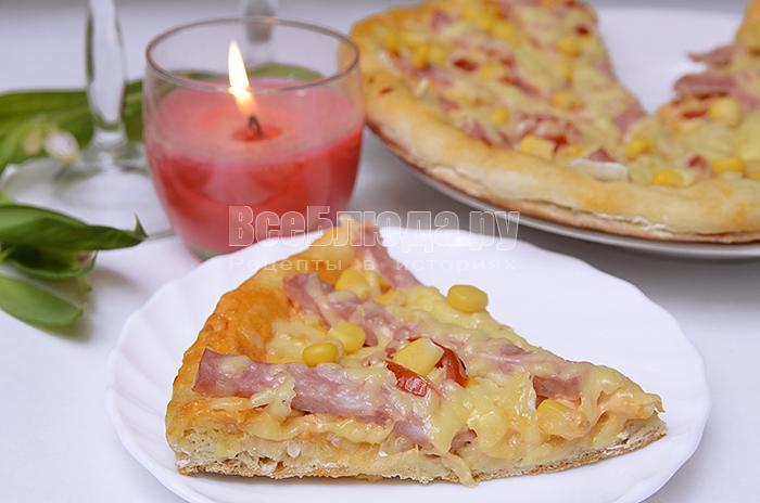 как приготовить пиццу с кукурузой и колбасой