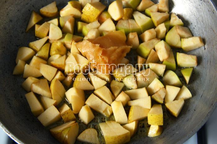 жарю яблоки с медом