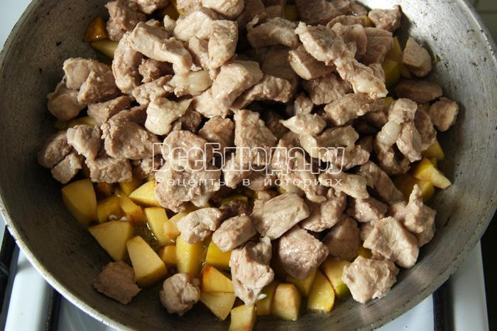 добавляю мясо