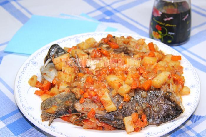 рецепт тушеного карася с овощами