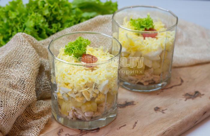 рецепт салата с ананасами и куриным филе