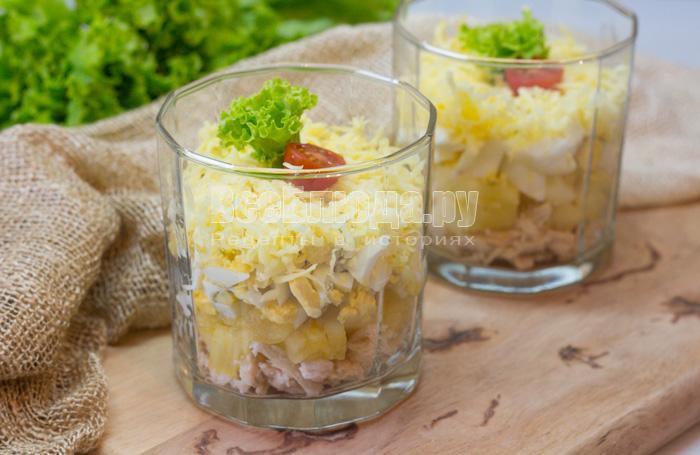 как приготовить салат с консервированными ананасами и куриным филе