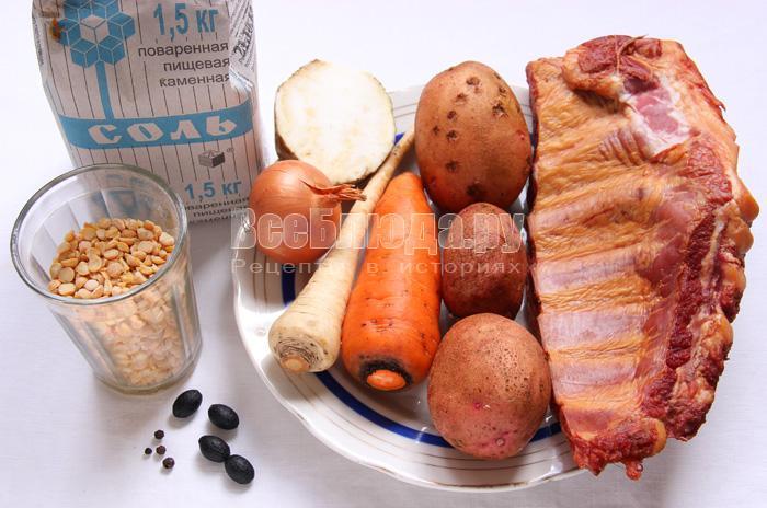 продукты для горохового супа с ребрами