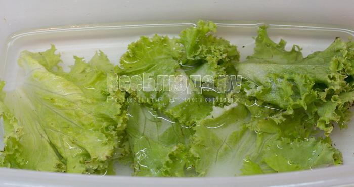 замочить салатные листья