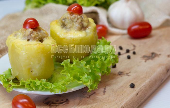 вкусная картошка фаршированная фаршем в духовке под сыром