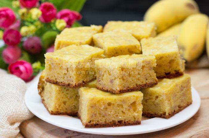 как приготовить пирог с творогом и бананами