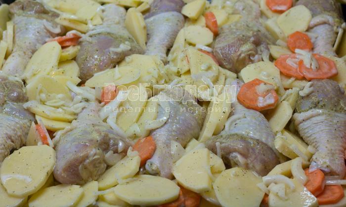 выложить курицу и овощи на противень