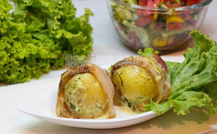 готовая картошка в беконе