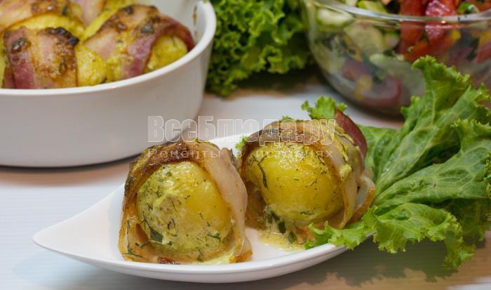 Картошка в беконе, запеченная в духовке со сметаной и майонезом