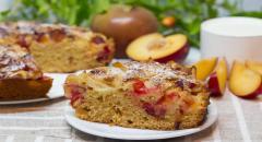 Сливовый пирог с яблоками (очень нежный и пышный)
