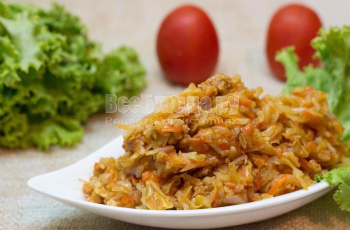 рецепт тушеной капусты с фаршем и рисом