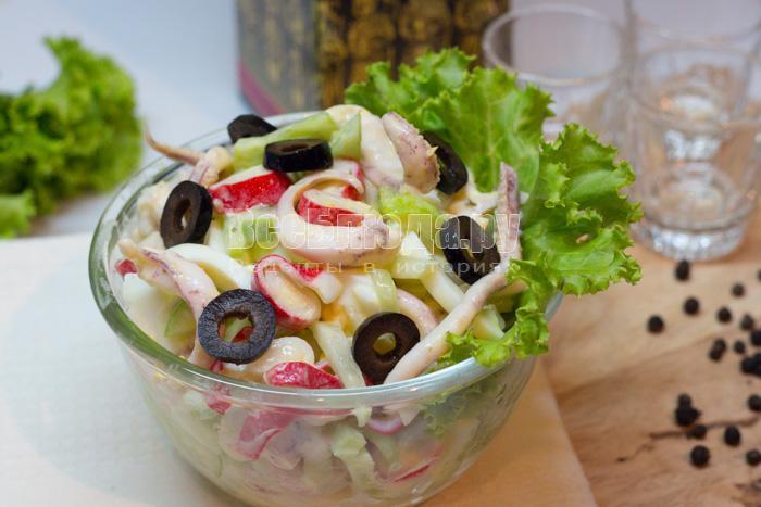 рецепт салата из маринованных щупалец