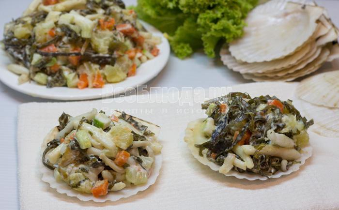 рецепт салата из морской капусты с кальмарами и картошкой