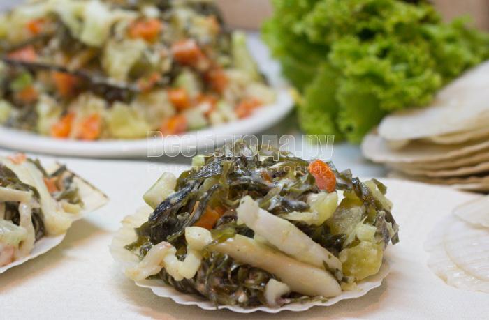 как приготовить морской салат с капустой и кальмарами