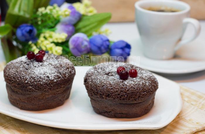 рецепт шоколадного пирожного с жидкой начинкой