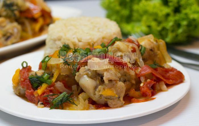рецепт курицы с болгарским перцем и помидорами