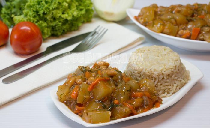 рецепт кабачков с фасолью