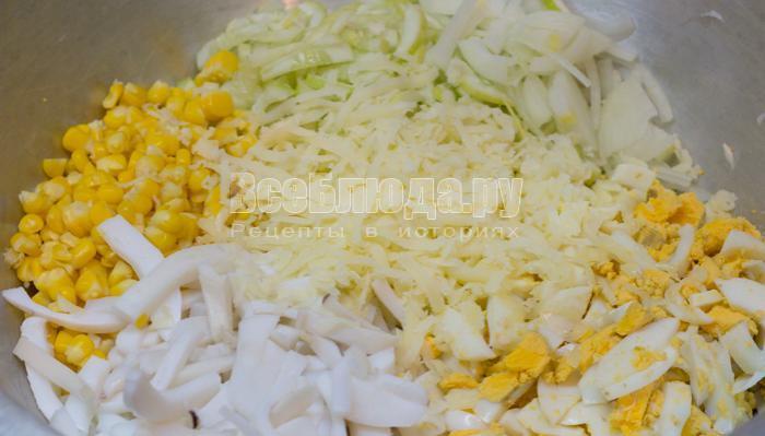 порезать все ингредиенты для салата