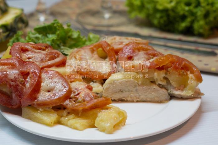как приготовить курицу в мультиварке с ананасами и помидорами