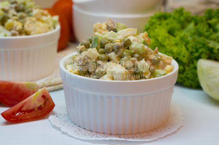 рецепт салата из консервированного тунца с яйцами