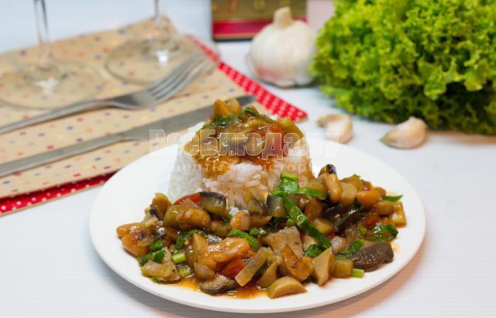 рецепт грибов с фасолью и баклажанами