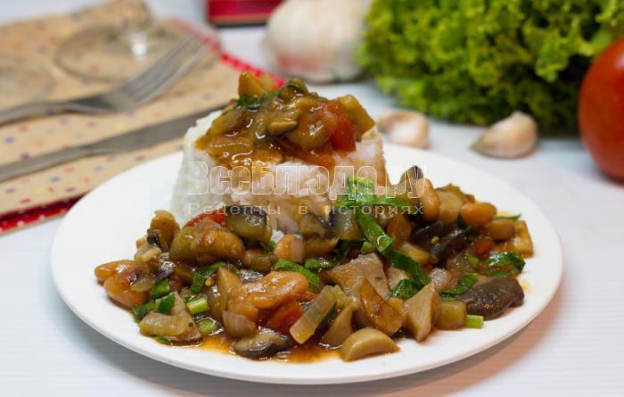как приготовить грибы с овощами и фасолью
