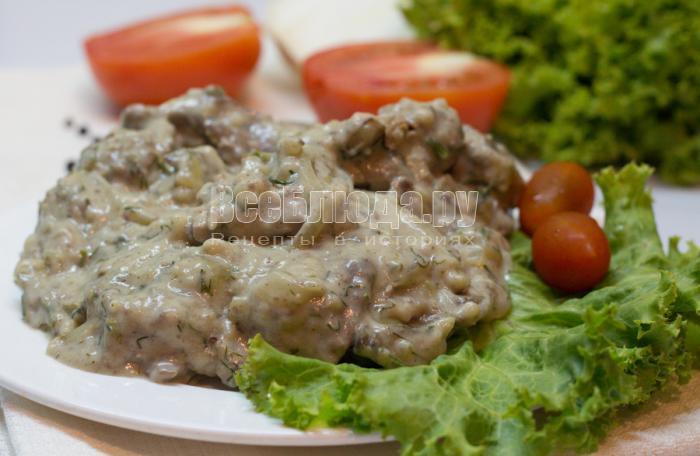 рецепт куриной печенки в сливочном соусе с луком