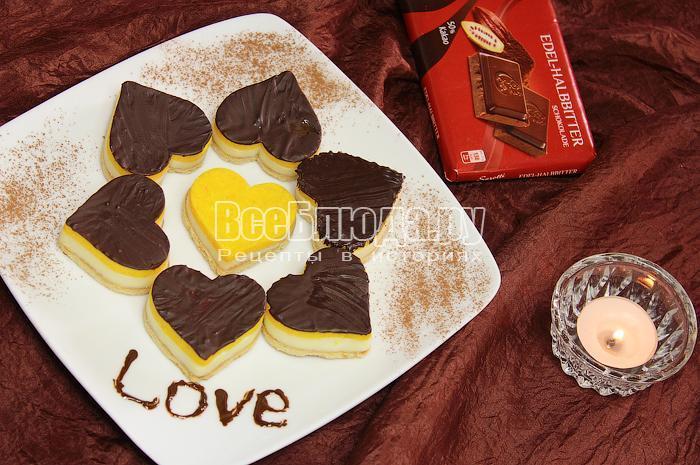 Печенье без выпечки с творогом и шоколадом, Десерт Валентинки