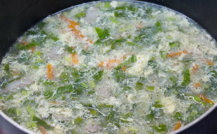 готовый щавельный суп