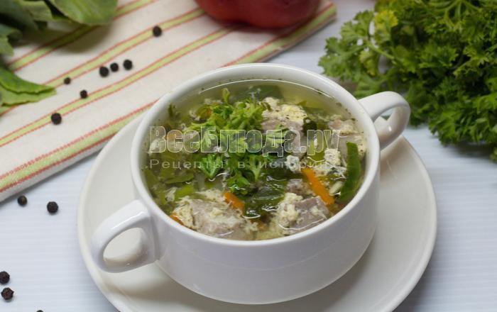 рецепт супа со щавелем и яйцом