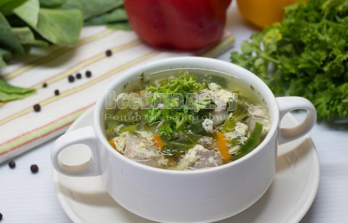 суп с щавелем и яйцами