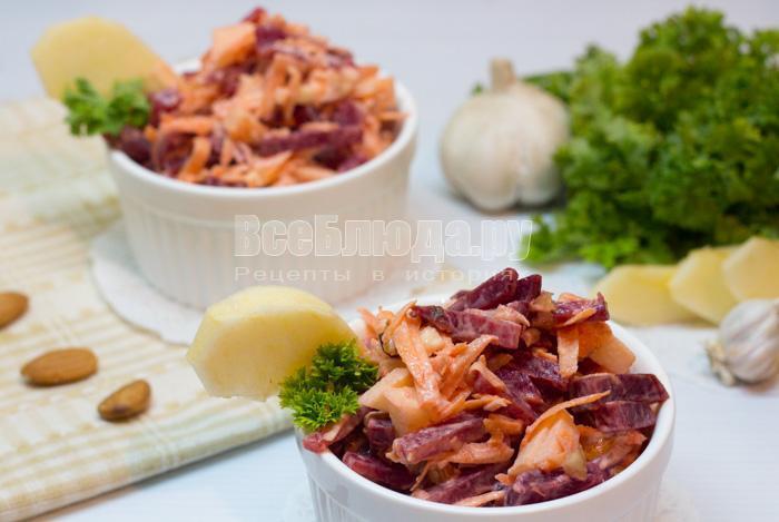 рецепт салата со свеклой и морковкой